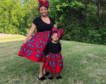 Red Blue African Drops Mommy and Me Skirts, Matching Outfits, Daughter, Mothers Day, Head Wraps, Ladies, Girls Skirt, African Clothing