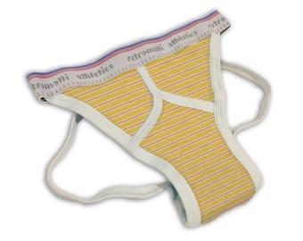Retro jock strap in red & yellow stripes