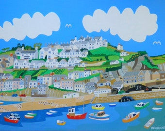 Mevagissey,  Cornwall, Framed  Original Painting by Richard Lodey, Association of British Naive Artists