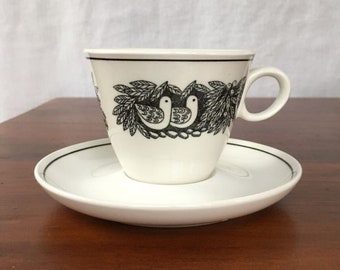 Vintage Franciscan Bird n Hand Tea Cup and Saucer
