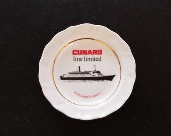 "Vintage Cunard Line RMS Queen Elizabeth 2: Trinket / Candy / Change Dish 4-3/4"""