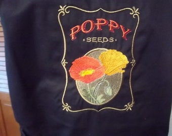 Black Chef's apron with Embroidered Poppy Seed Packet