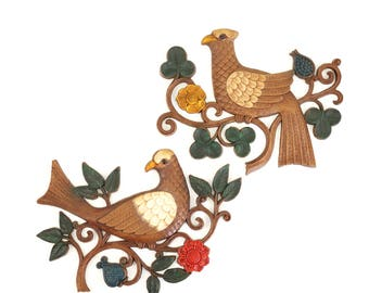 Vintage Syroco Birds Wall Decor / Pair of Vintage Birds Wall Plaques / Vintage Birds Wall Hangings / Boho Home Decor