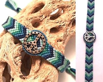 Friendship bracelet - peace sign - chevron - braided - macrame - woven - green - blue - charm - embroidery floss - string