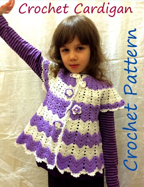 Crochet Pattern Cardigan Baby Girl Spring Chevron Outfit For