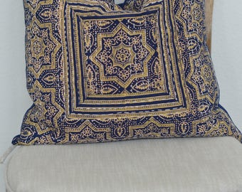 19X19 Starry Starry Night Hand Block Printed Kantha Embroidered Pillow Cover
