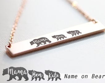 MAMA Bear Necklace, MOTHER'S Day Gift, Mom Necklace Horizontal Bar Necklace, Mothers Day Jewelry, Gift for Mom, New Mom Gift, Newborn A1 001