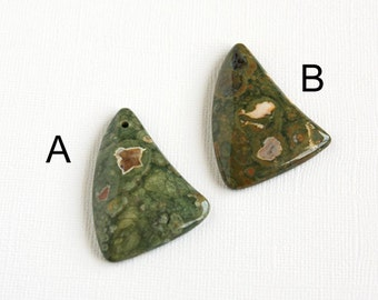 Green Rhyolite Pendant Bead 49x34mm Top Drilled Front Drilled Rainforest Jasper Forest Green Jungle Green Triangle Shape Drops Natural Stone