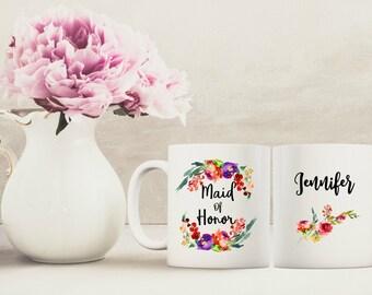 Maid of honor gift, Bridal party gift, Personalized mug, watercolor flowers mug, floral bridal gift, floral mug, custom coffee mug
