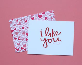 I Like You A Whole Lot + Heart Attack - POSTCARDS | Packs of 4, 8, or 12 | Hand Illustrated, Calligraphy Valentines Post Card