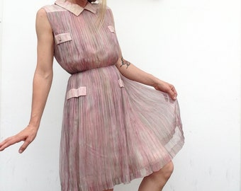 Pleated tulle dress   Vintage   1950s   Light pink   Transparent   Romantic   Audrey Hepburn style