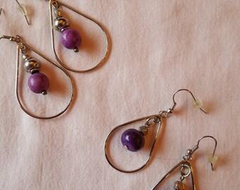 PURPLE TURQUOISE AND Silver Teardrop Hoop Earrings