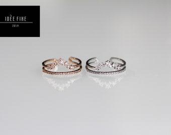 Mountain Princess Tiara Double Layer Expandable Ring