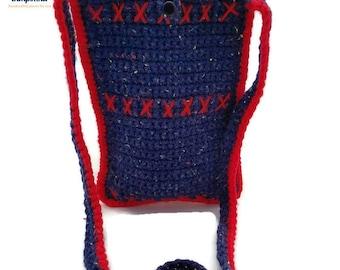 X's Small Red & Blue Crossbody Crochet Bag