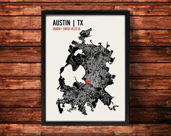 Austin Wedding Map Art | Austin Wedding Gift | Austin Art Print | Austin Poster | Austin Map