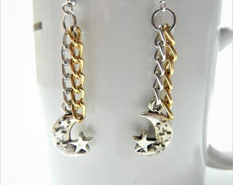 Silver and gold hoop earrings, Heart hoop earrings, Tribal heart earring