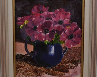 Oil painting of anemones