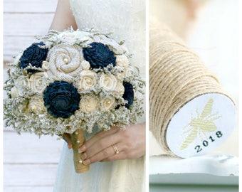 Navy Wedding Bouquet // Rustic Dried Flower Bridal Bouquet Burlap Wedding Flowers Sola Wood Flower Bride Bouquet Woodland Boho Navy Blue