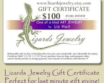 100 Dollar Gift Certificate Lizards Jewelry