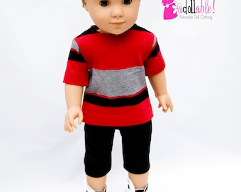 18 inch boy doll clothes, boy doll clothing made to fit like american girl doll clothes, red/black striped T-shirt and black Bermuda shorts
