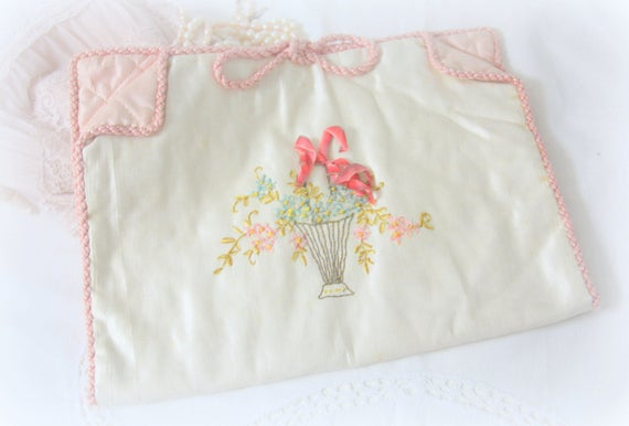 Antique french lingerie bag