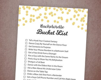 Bachelorette Party Bucket List Game Printable, Gold Confetti Bridal Shower Games, Bachelorette Game, Scavenger Hunt, Instant Download, A001