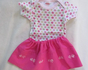 Eco-Friendly Summer Sooo Pretty!! 3-6 month white onesie with pink, green, yellow flowers with handmade elastic waist skirt