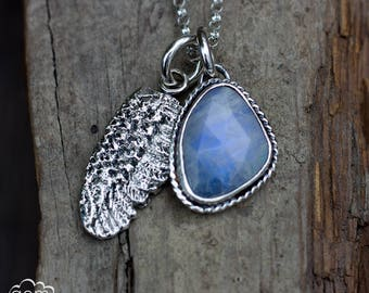 Sterling silver angle wing and Rose cut Moonstone charm necklace - Wings and Dreams