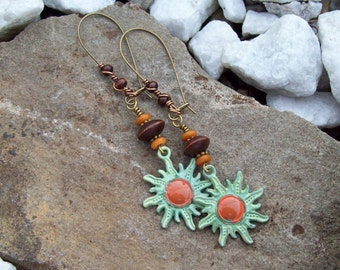 Hippie Sun earrings, Bohemian, Painted Sun Charm Earrings with Wood beads and dyed bone, Wood wrapped ear kidney wire earrings