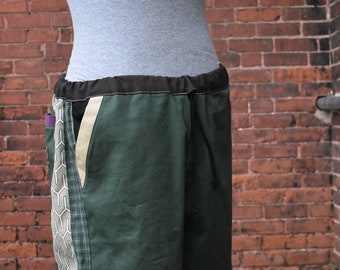 mens patchwork Dude Shorts green hippie plaid geometry seven  30 32 34 36 38 40 earthy ready to ship festival burner purple