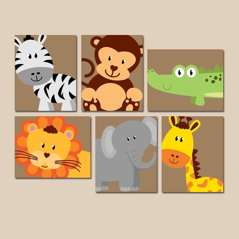 SAFARI Animal pared arte Animal Nursery Decor zoológico