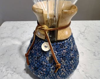 Hand Crafted Chemex Cozy / Cardigan - Fits 8 Cup Chemex - Wedgewood