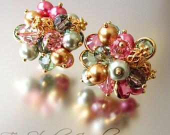 KARA Pearl and Crystal Cluster Earrings - MULTI COLOR
