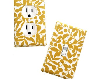 Fabric Covered Light Switch Plate Cover - All Styles - Double, Triple, GFCI, Outlet, Slider, Rocker, Toggle - Mustard Yellow Foliage