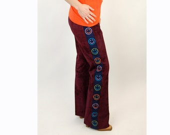 Crushed velvet pants, smiley face pants, 1960s 1970s pants, hippie pants, hip huggers, marsala burgundy velvet, Size M