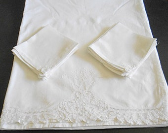 "Vintage BATTENBERG LACE Tablecloth & 12 Napkins Set Looped Tapes White on White Cotton 90"" w x 106"" Xtra Long Table Cover 1980s Unused"