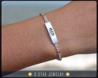 Sterling Silver Baha'i Ringstone symbol Bracelet - BSB4