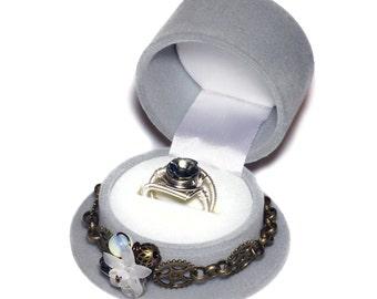 Limited Edition - Grey Steampunk Top Hat Single Ring Box and Black Diamond Swarovski Crystal Ring