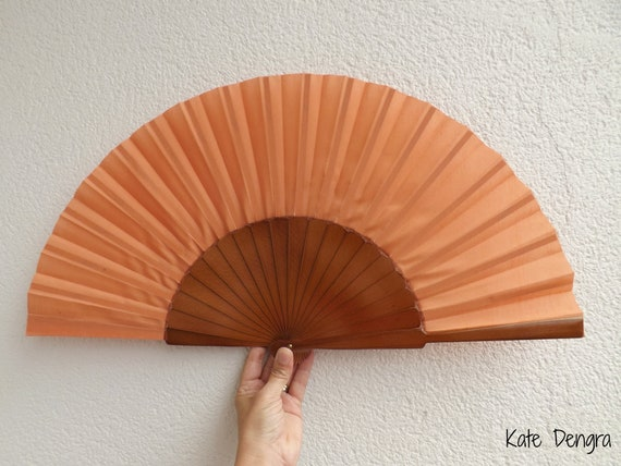 XL Pale Orange Dark Wood Hand Fan Ready To Customize