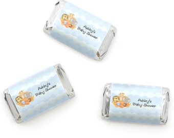 Noah's Ark Mini Candy Bar Wrappers - Personalized Baby Shower & Birthday Party Hershey® Miniature Candy Bar Sticker Labels - 20 Ct