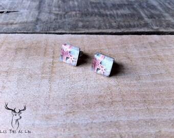 stainless steel earrings - minimalist square - Starfish - summer - ocean look