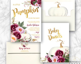 Burgundy Pumpkin Baby Shower Invitation // A little pumpkin is on the way // Fall Baby Shower Invitation // Gold Foil // CARMEL COLLECTION