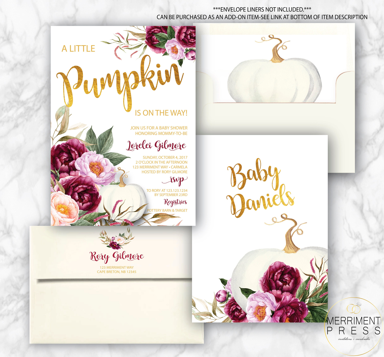Burgundy Pumpkin Baby Shower Invitation // A little pumpkin is on ...