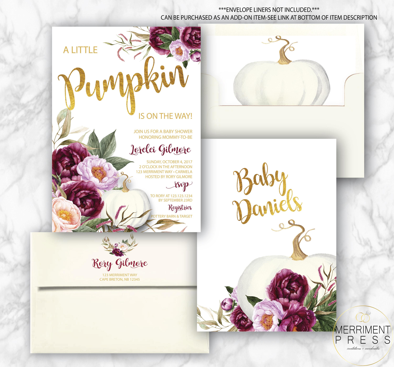 Burgundy Pumpkin Baby Shower Invitation // A Little Pumpkin Is On The Way  // Fall Baby Shower Invitation // Gold Foil // CARMEL COLLECTION