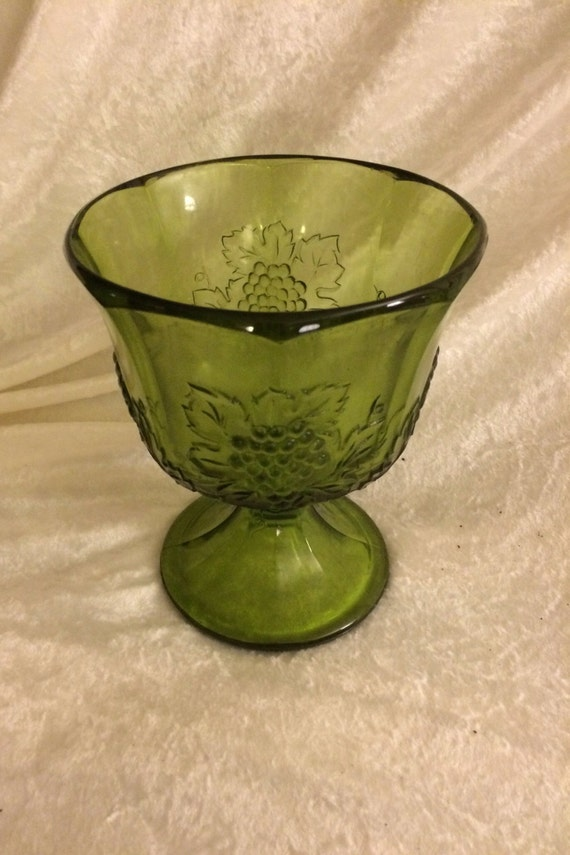 Green Glass Pedestal Bowl Or Vase With Grape Pattern