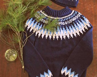 Vintage Winter crochet sweater and hat set / Ski sweater beanie Unisex gift set winter wear
