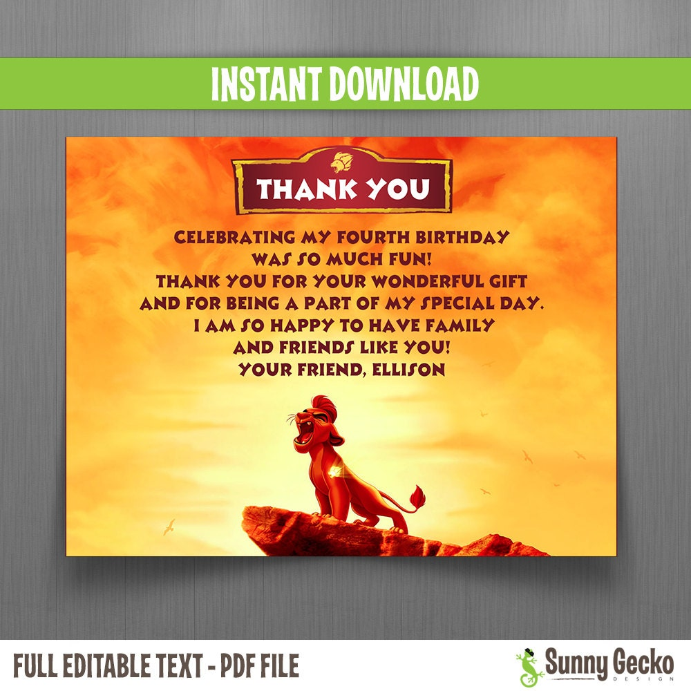 The Lion Guard Birthday Thank You Cards Instant Download - Lawn care invoice template pdf online lingerie store