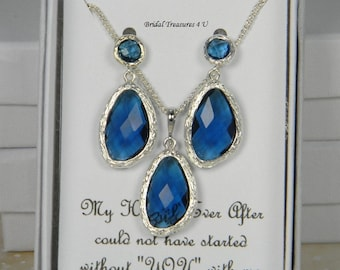 Blue / Silver with Blue Drop Bridesmaids Necklace Set, Marine Blue Jewelry, Something Blue, Blue Bridesmaid, Ocean Blue Wedding EG1