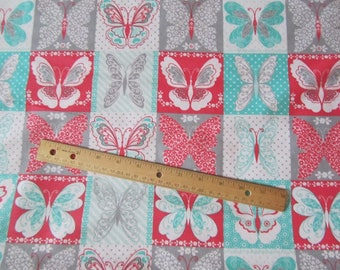 Coral/Aqua/Gray Butterfly Blocked Flannel Fabric by the Yard