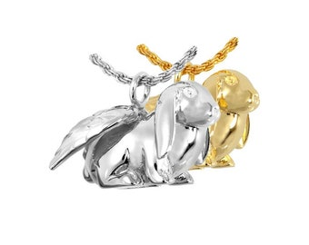 Lop Bunny Angel Cremation Urn Necklace | Sterling Silver or 14K Gold Plated Rabbit Cremation Ash Charm Jewelry | Remembrance Pendant